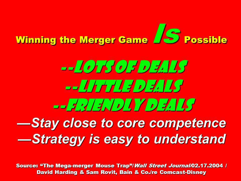 Winning the Merger Game Is Possible --Lots of deals --Little deals --Friendly deals —Stay close to core competence —Strategy is easy to understand Source: The Mega-merger Mouse Trap /Wall Street Journal/02.17.2004 / David Harding & Sam Rovit, Bain & Co./re Comcast-Disney