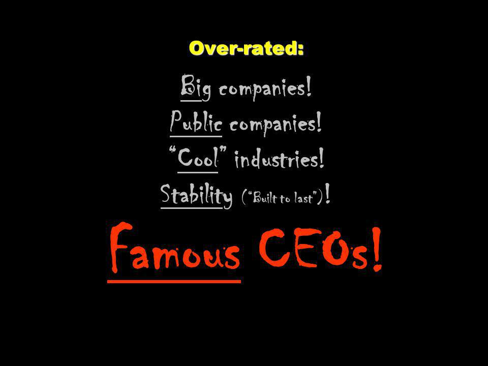 Over-rated: Big companies. Public companies. Cool industries