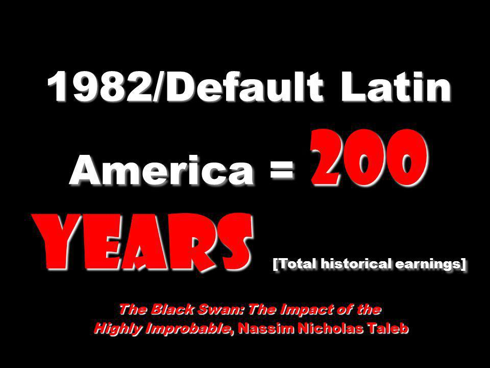 1982/Default Latin America = 200 years [Total historical earnings]