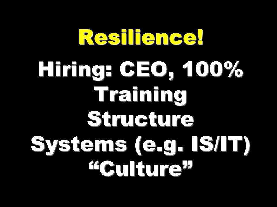 Resilience. Hiring: CEO, 100% Training Structure Systems (e. g