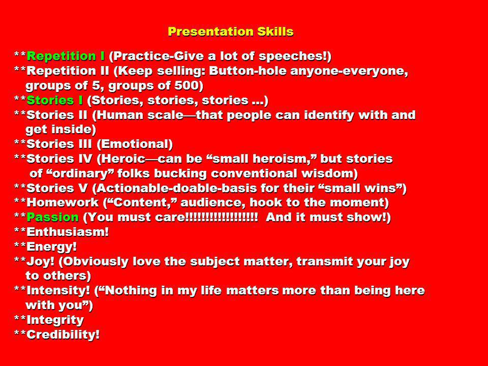 Presentation Skills. Repetition I (Practice-Give a lot of speeches. )