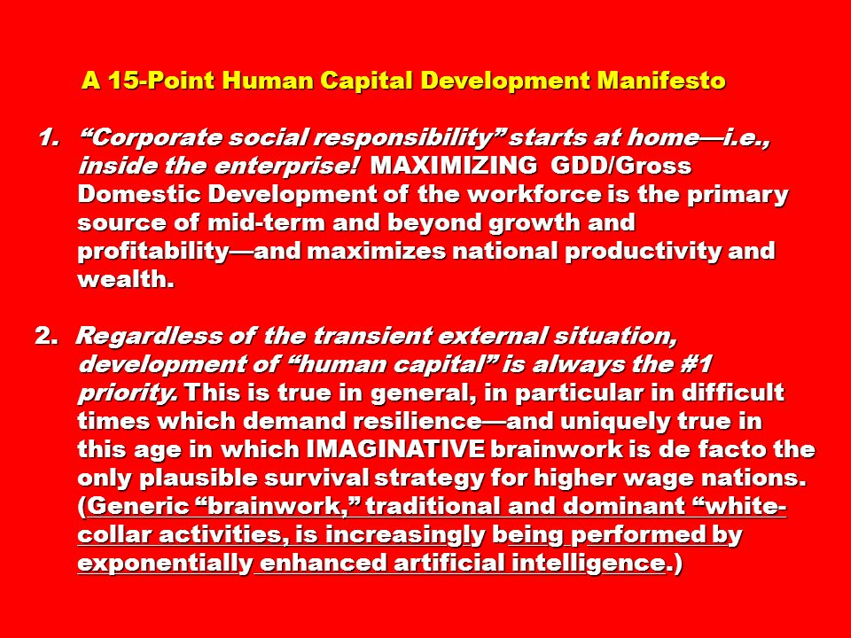 A 15-Point Human Capital Development Manifesto