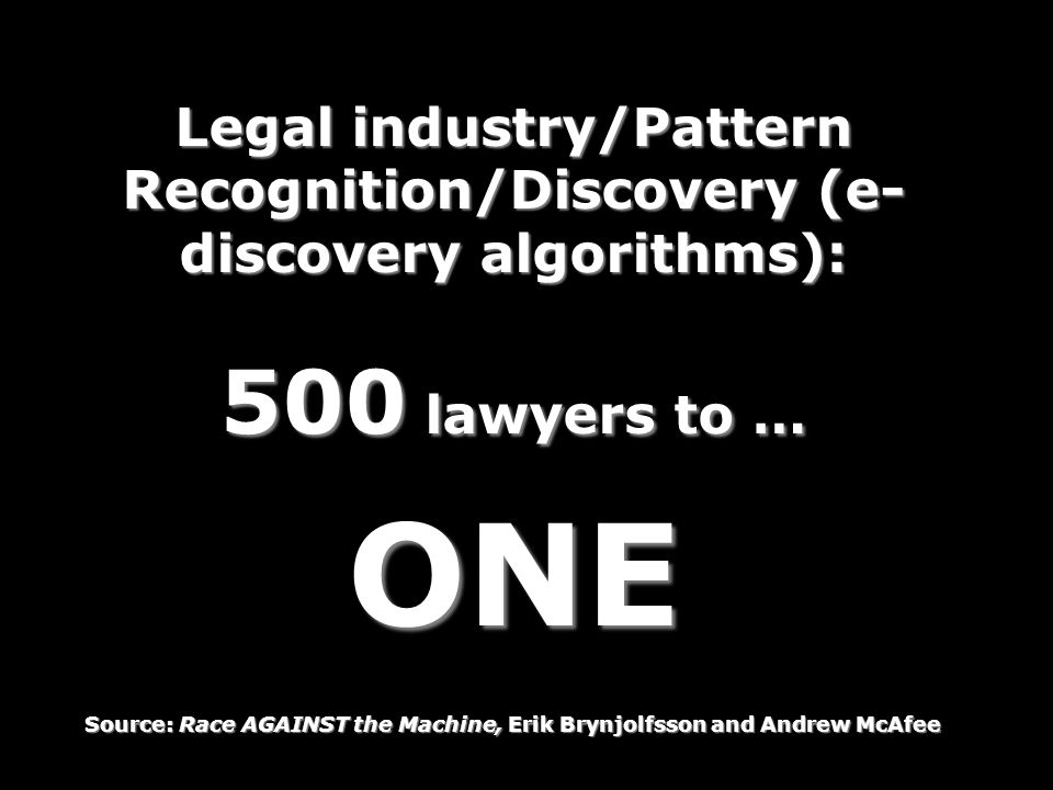 Legal industry/Pattern Recognition/Discovery (e-discovery algorithms):