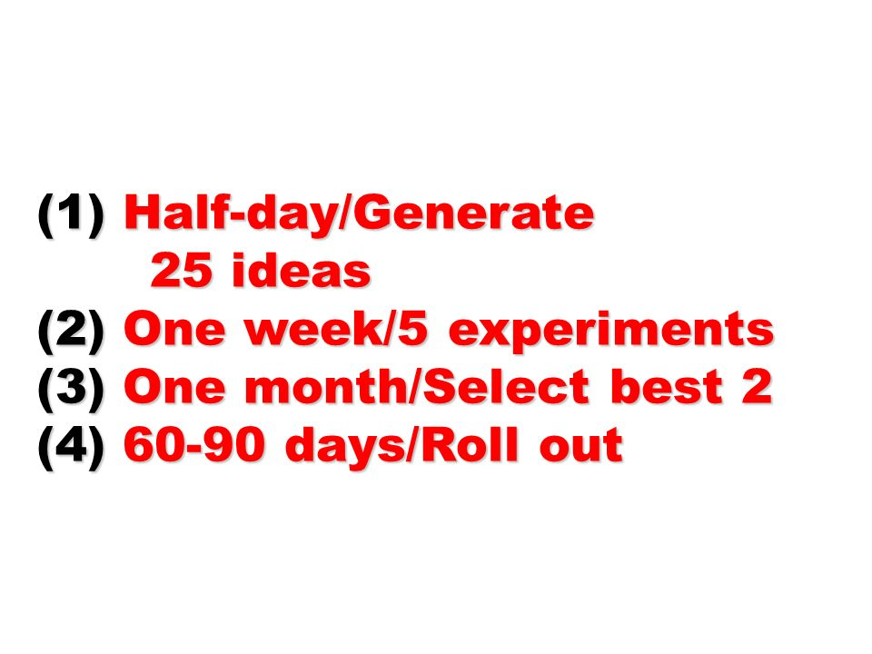 Half-day/Generate 25 ideas. (2) One week/5 experiments.