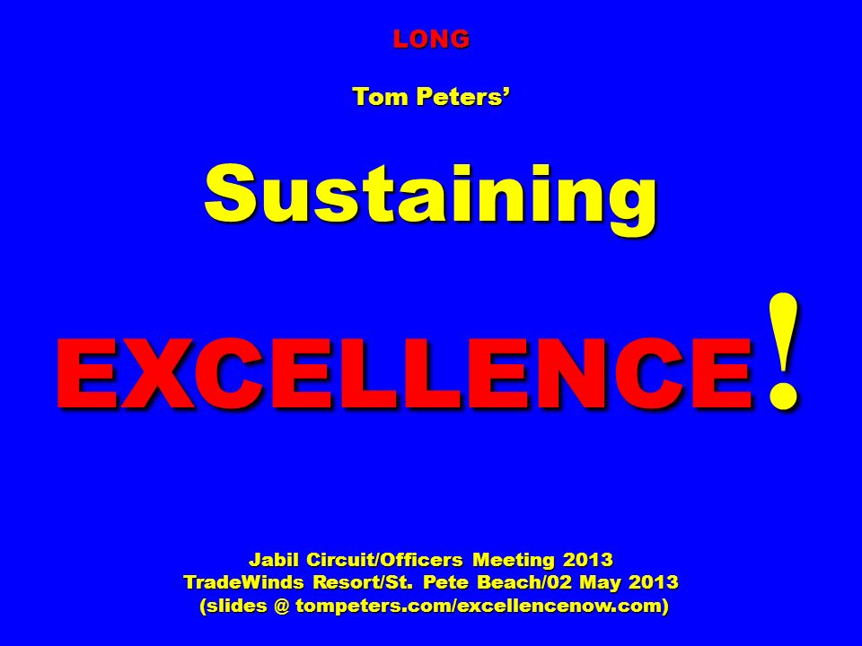Sustaining EXCELLENCE!