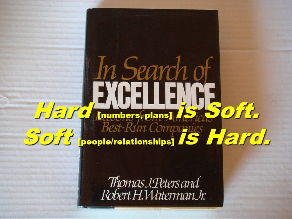Hard [numbers, plans] is Soft. Soft [people/relationships] is Hard.