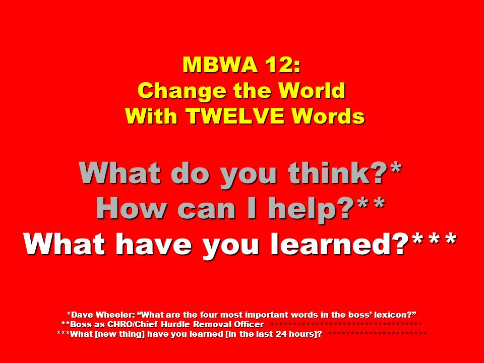 MBWA 12: Change the World With TWELVE Words What do you think