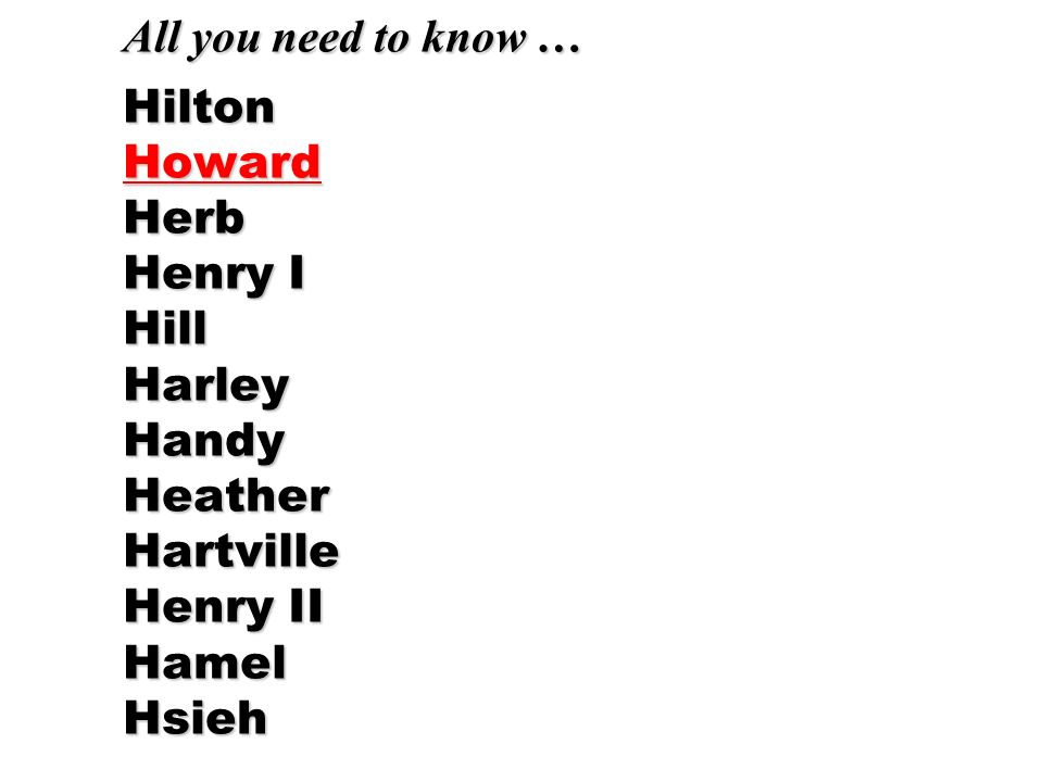 All you need to know … Hilton Howard Herb Henry I Hill Harley Handy Heather Hartville Henry II Hamel Hsieh
