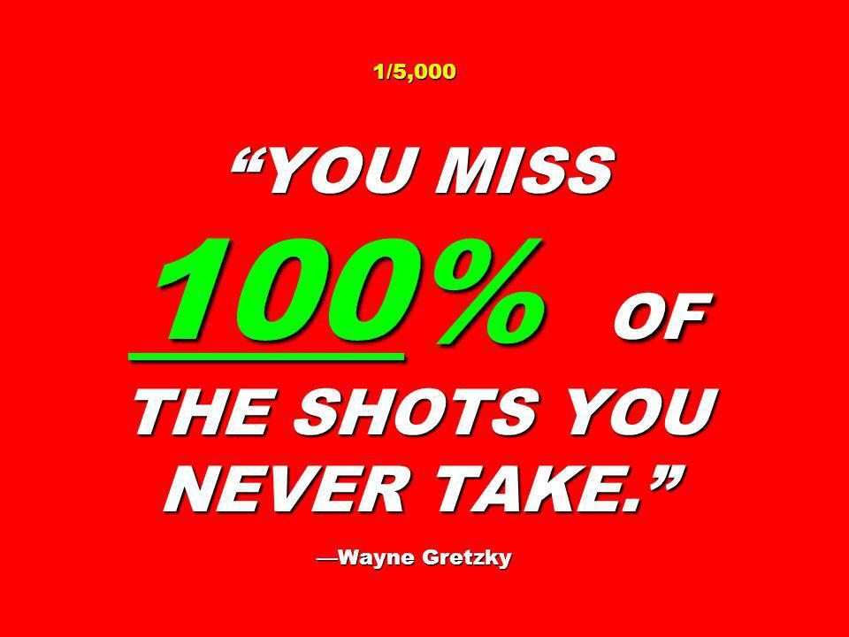 1/5,000 YOU MISS 100% OF THE SHOTS YOU NEVER TAKE. —Wayne Gretzky