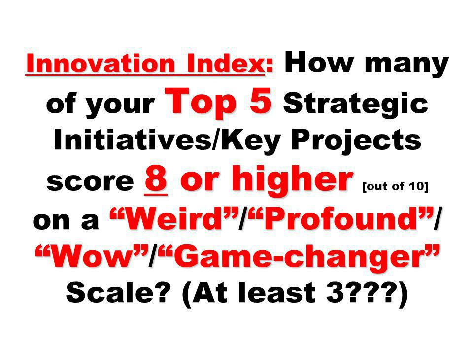 Innovation Index: How many of your Top 5 Strategic Initiatives/Key Projects score 8 or higher [out of 10] on a Weird / Profound / Wow / Game-changer Scale (At least 3 )