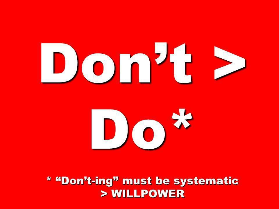 Don't > Do* * Don't-ing must be systematic > WILLPOWER