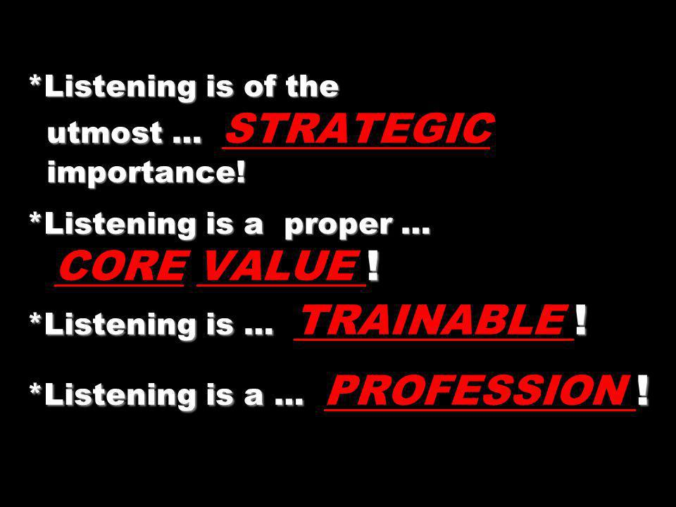 Listening is of the utmost … STRATEGIC importance
