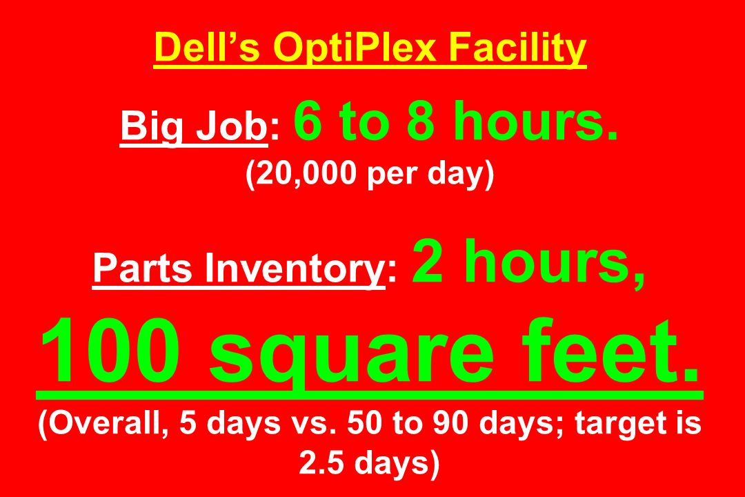 Dell's OptiPlex Facility Big Job: 6 to 8 hours