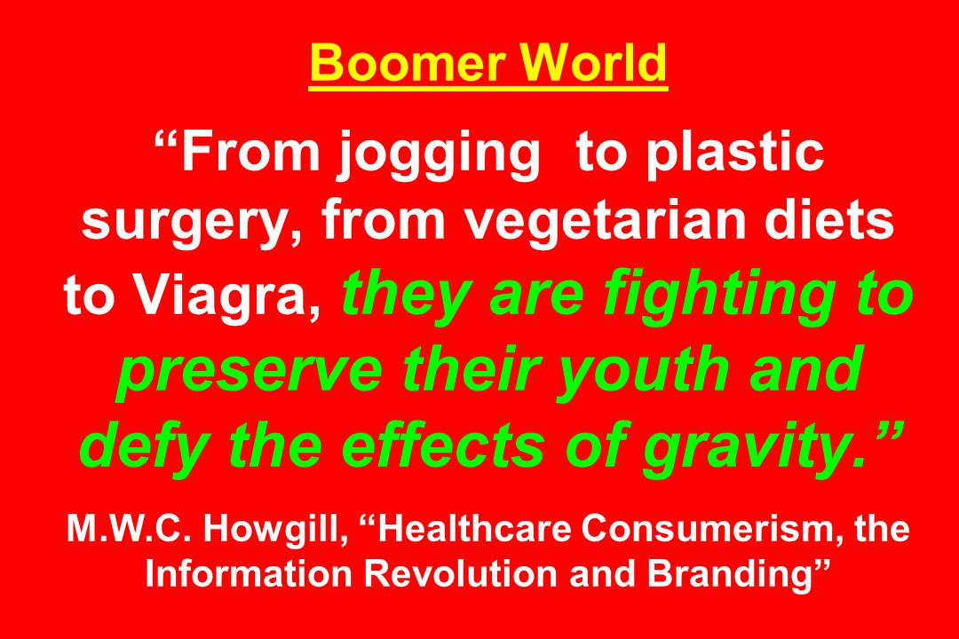Boomer World From jogging to plastic surgery, from vegetarian diets to Viagra, they are fighting to preserve their youth and defy the effects of gravity. M.W.C.