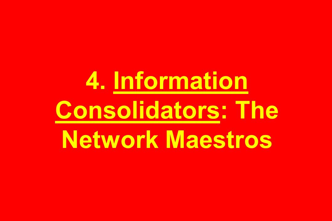 4. Information Consolidators: The Network Maestros