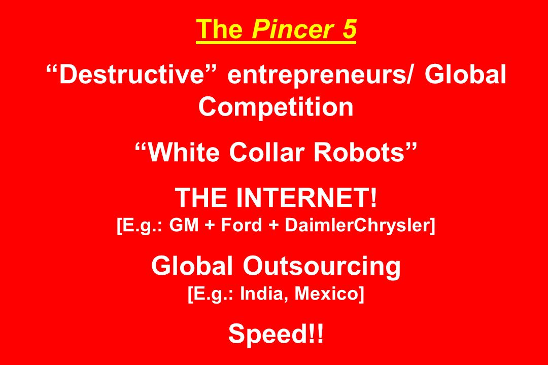 The Pincer 5 Destructive entrepreneurs/ Global Competition White Collar Robots THE INTERNET.