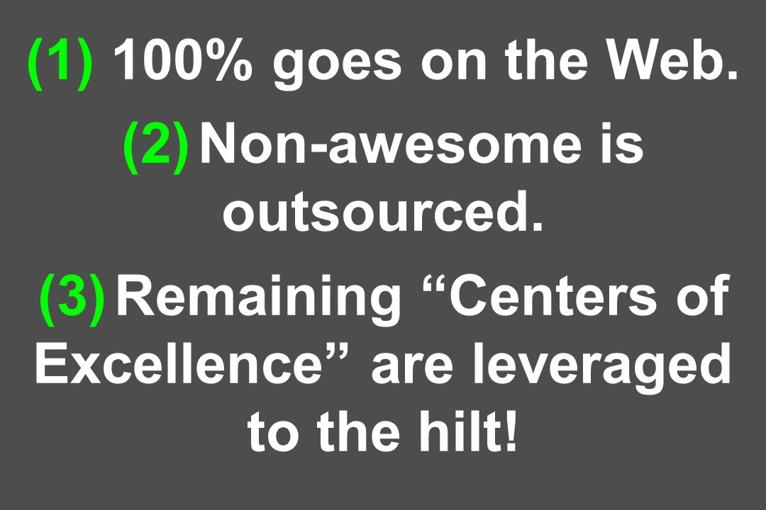 (1) 100% goes on the Web. (2) Non-awesome is outsourced