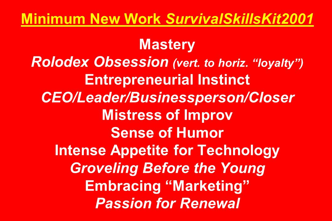 Minimum New Work SurvivalSkillsKit2001 Mastery Rolodex Obsession (vert