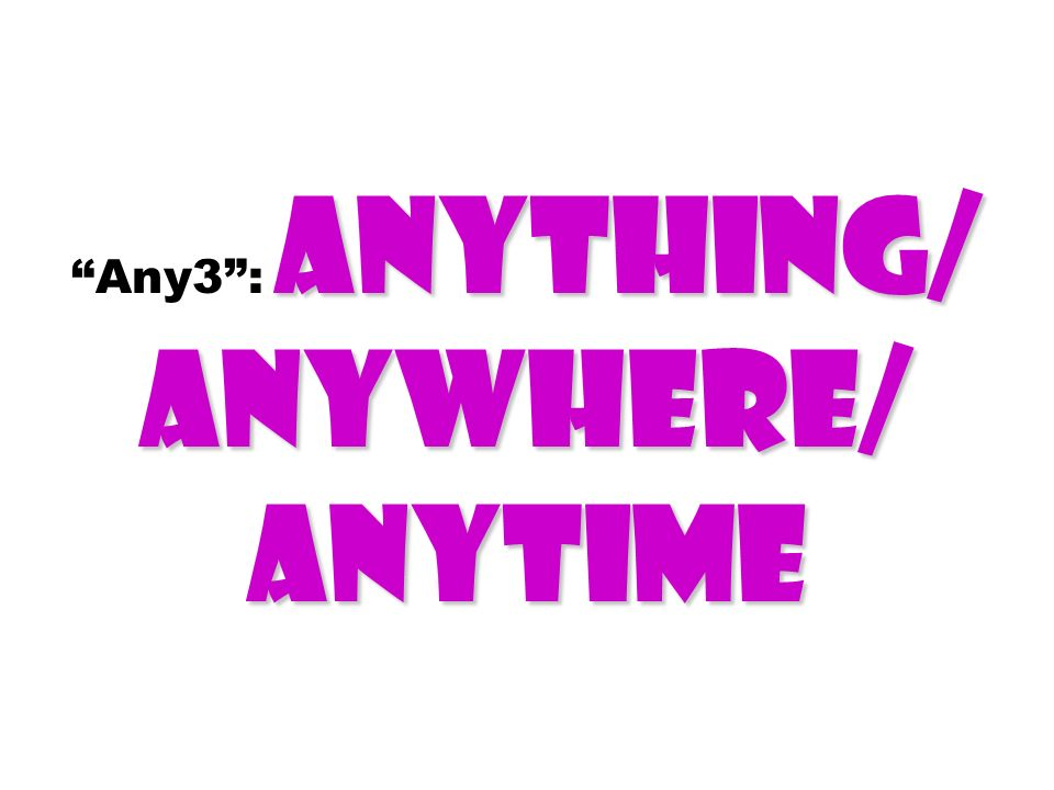 Any3 : Anything/ Anywhere/ Anytime