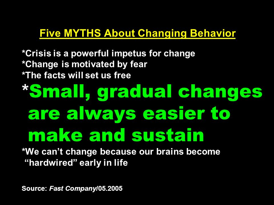 Five MYTHS About Changing Behavior