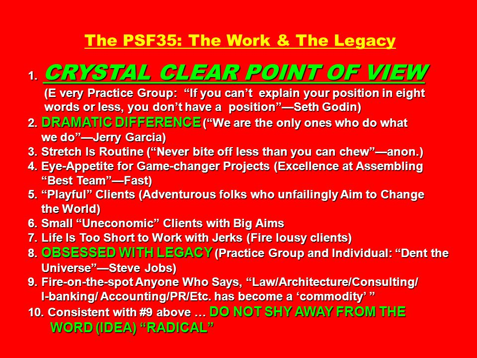 The PSF35: The Work & The Legacy 1. CRYSTAL CLEAR POINT OF VIEW