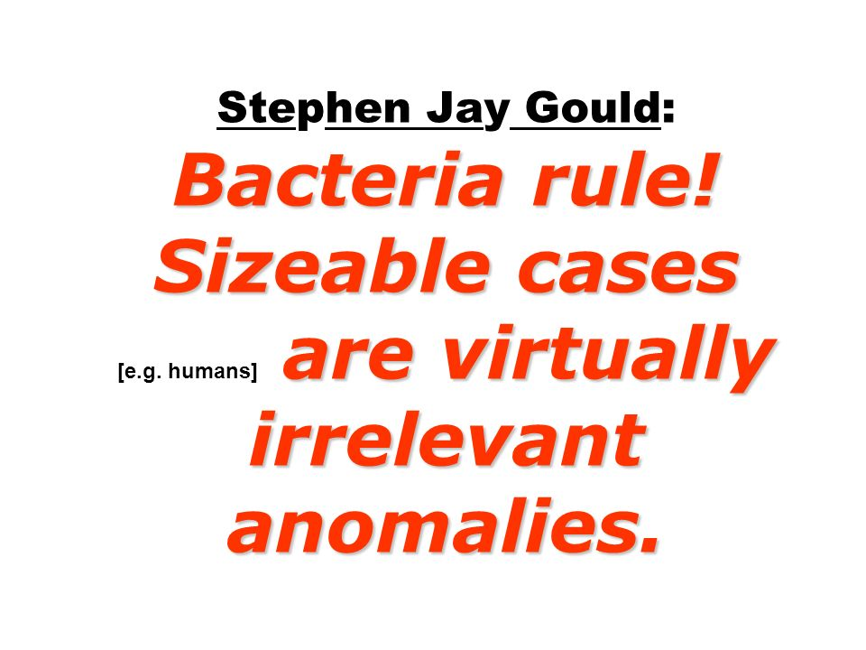 Stephen Jay Gould: Bacteria rule. Sizeable cases [e. g