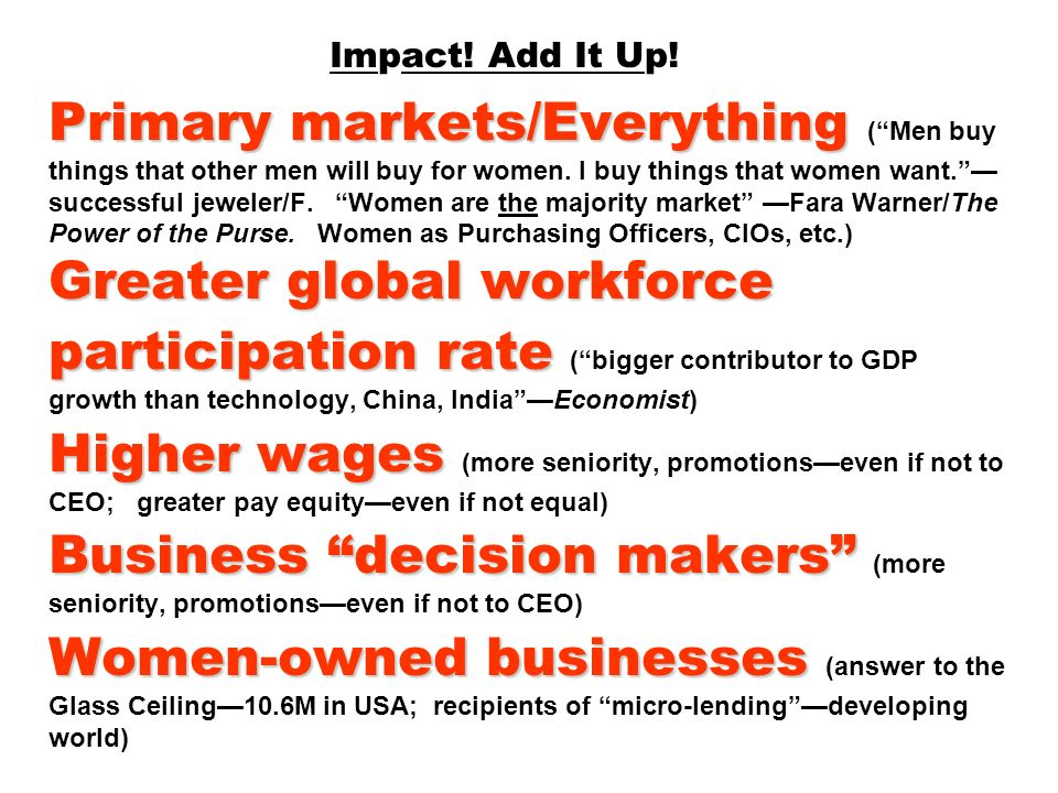 Impact. Add It Up. Primary markets/Everything ( Men buy things that other men will buy for women.