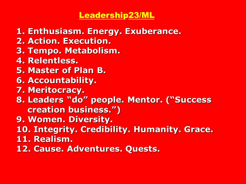 Leadership23/ML 1. Enthusiasm. Energy. Exuberance. 2. Action. Execution. 3. Tempo. Metabolism. 4. Relentless. 5. Master of Plan B. 6. Accountability. 7. Meritocracy. 8. Leaders do people. Mentor. ( Success