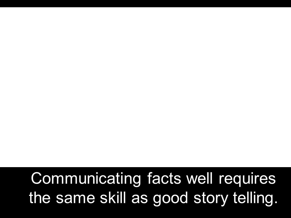 Communicating facts well requires the same skill as good story telling.
