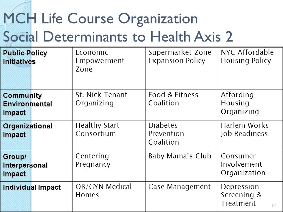 MCH Life Course Organization Social Determinants to Health Axis 2
