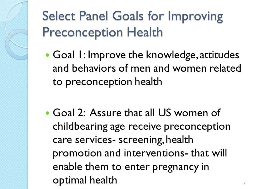 Select Panel Goals for Improving Preconception Health