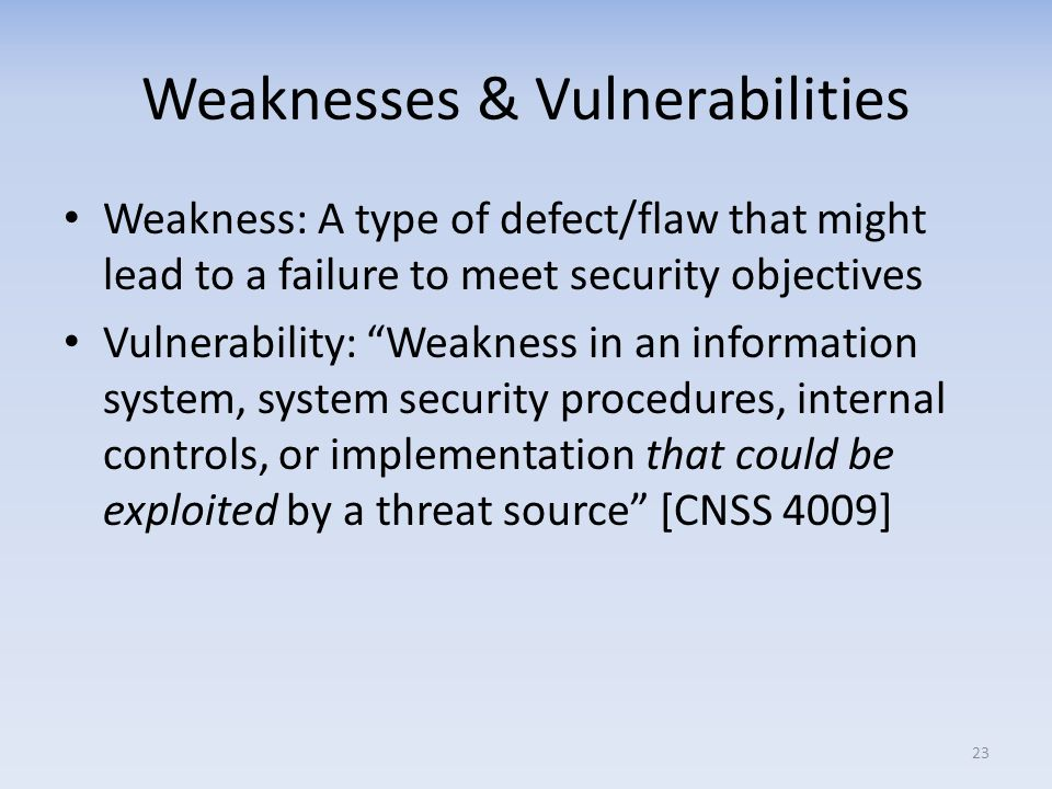 Weaknesses & Vulnerabilities