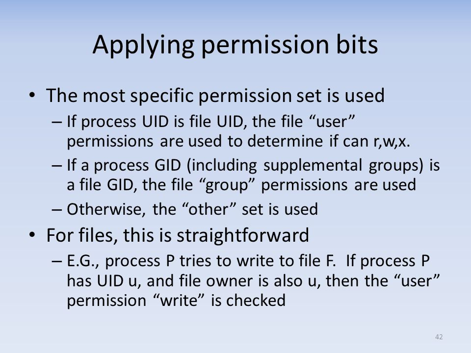 Applying permission bits