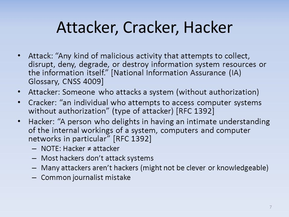 Attacker, Cracker, Hacker
