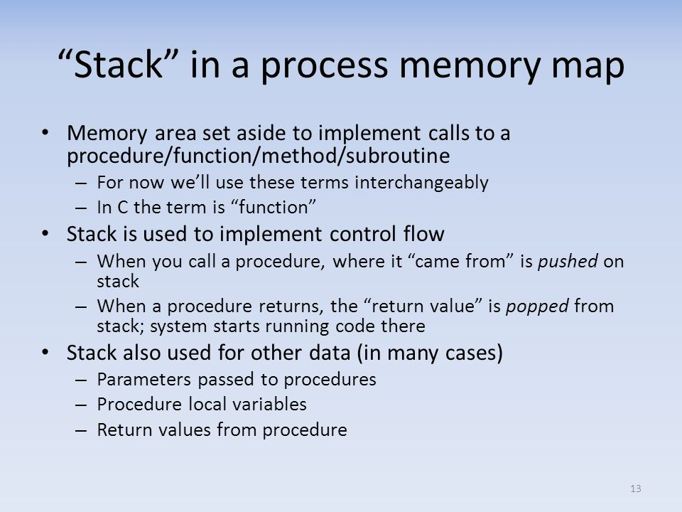 Stack in a process memory map