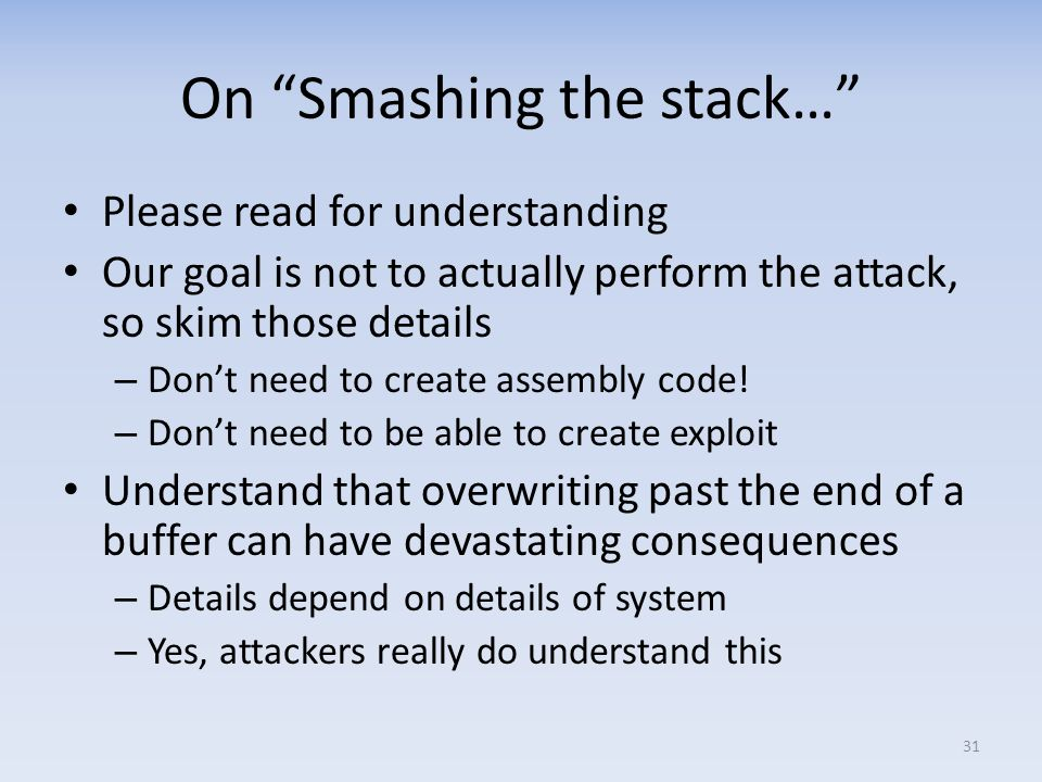 On Smashing the stack…