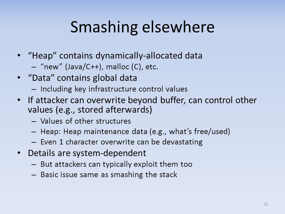 Smashing elsewhere Heap contains dynamically-allocated data
