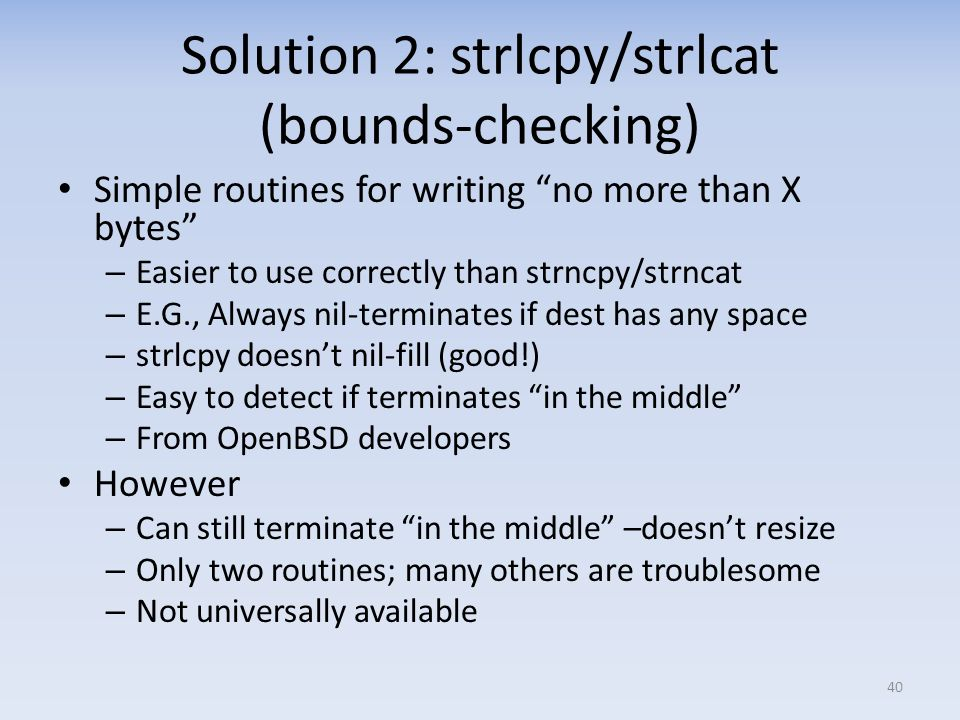 Solution 2: strlcpy/strlcat (bounds-checking)