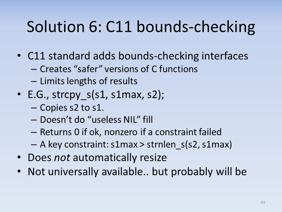 Solution 6: C11 bounds-checking