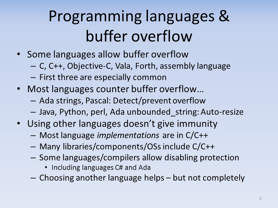 Programming languages & buffer overflow