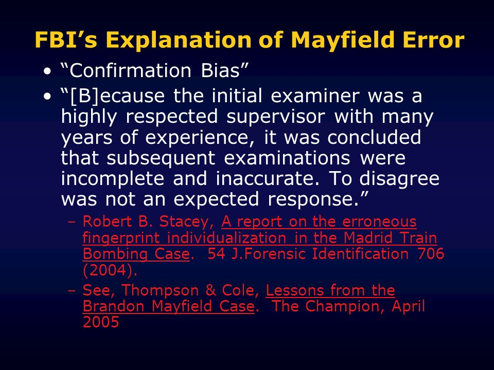 FBI's Explanation of Mayfield Error