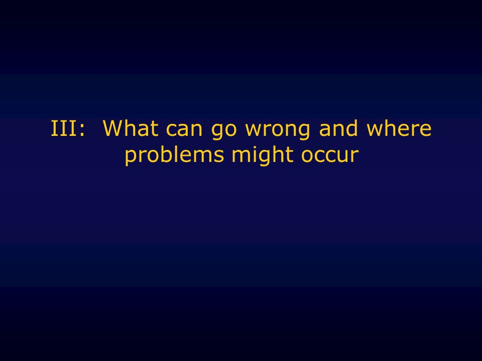 III: What can go wrong and where problems might occur
