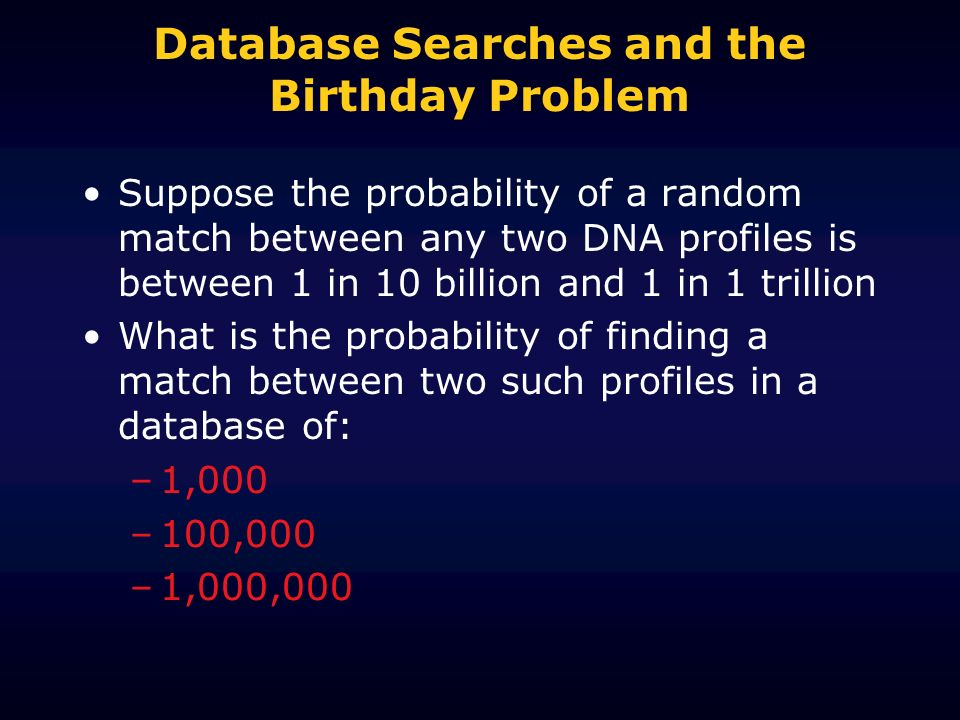 Database Searches and the Birthday Problem