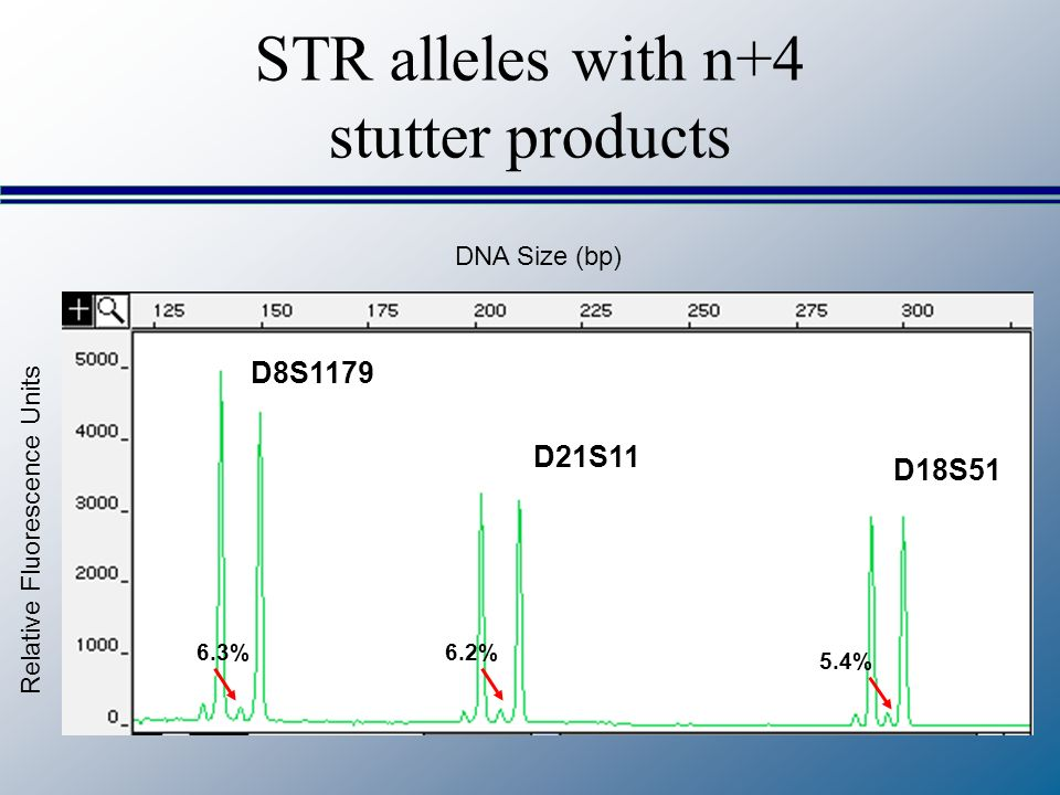 STR alleles with n+4 stutter products