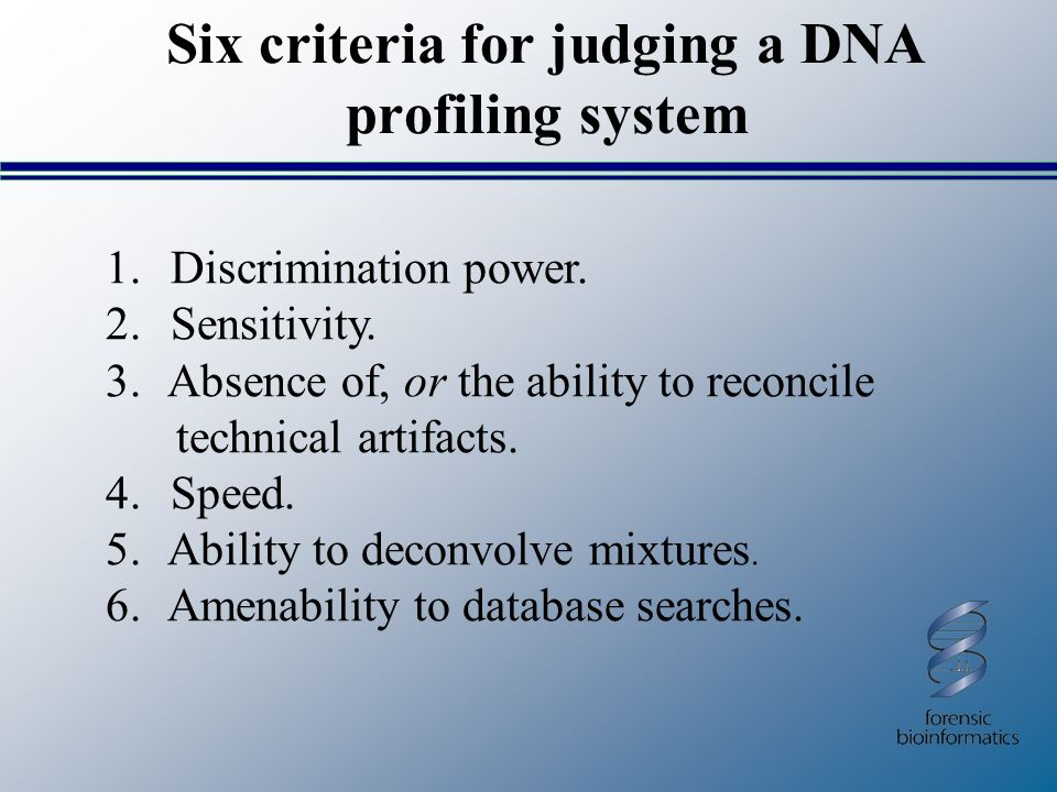 Six criteria for judging a DNA profiling system