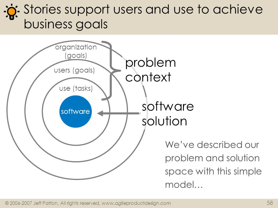 Stories support users and use to achieve business goals