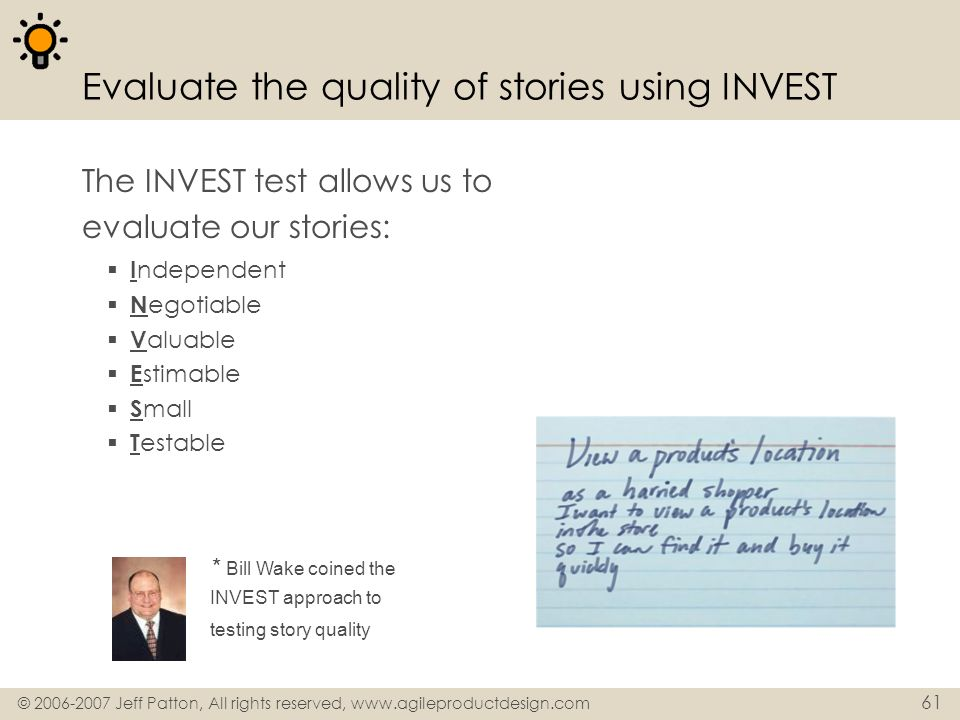 Evaluate the quality of stories using INVEST