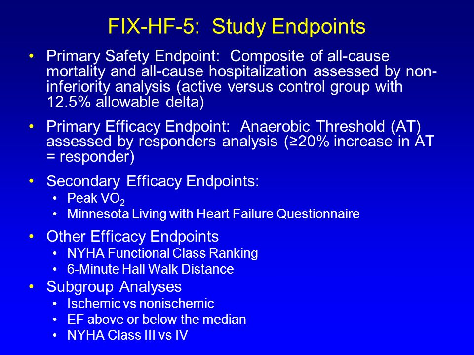 FIX-HF-5: Study Endpoints