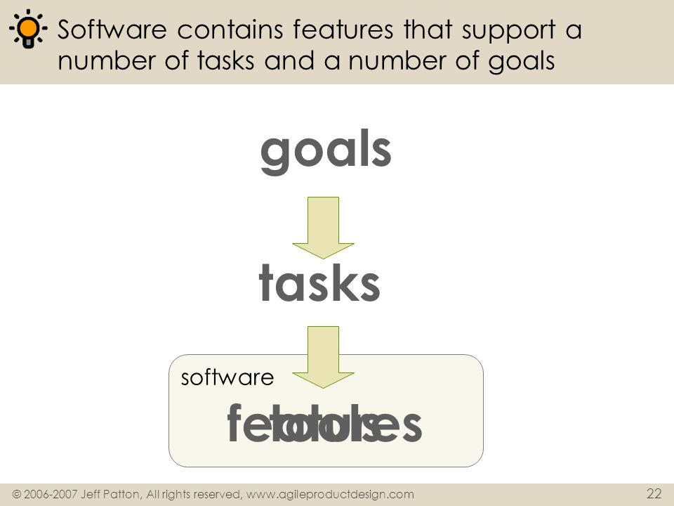 goals tasks features tools
