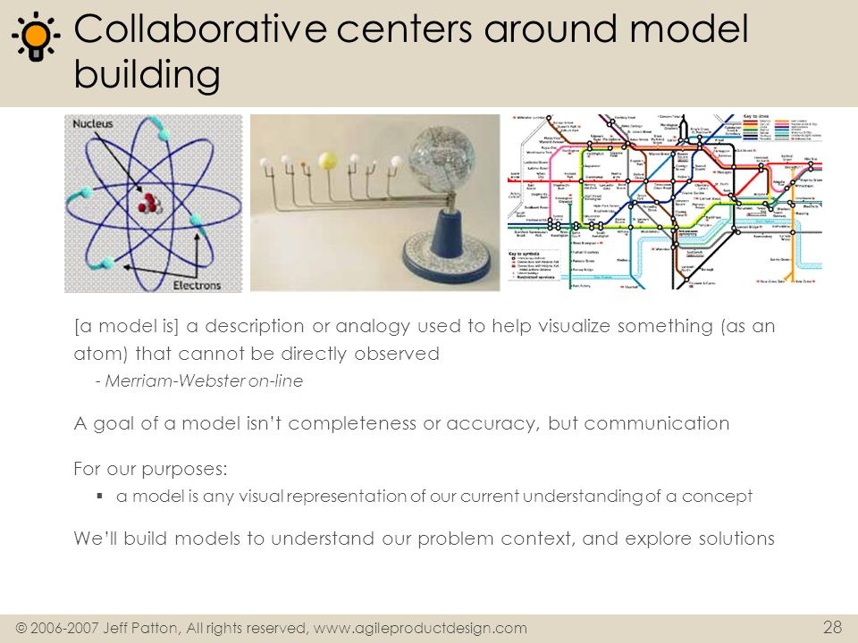 Collaborative centers around model building